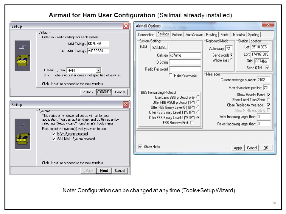 Airmail for Ham User Configuration (Sailmail already installed)