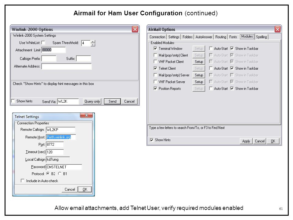 Airmail for Ham User Configuration (continued)
