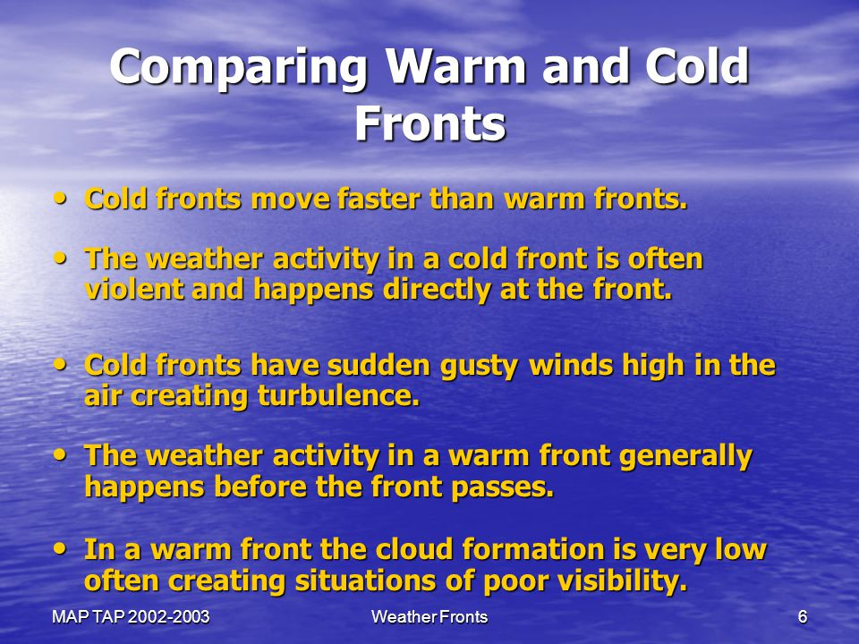Comparing Warm and Cold Fronts
