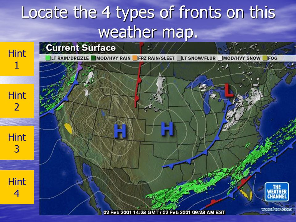Locate the 4 types of fronts on this weather map.