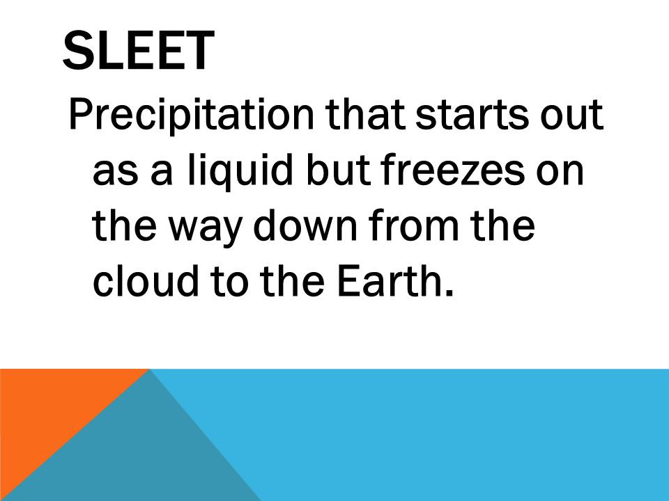 Sleet Precipitation that starts out as a liquid but freezes on the way down from the cloud to the Earth.