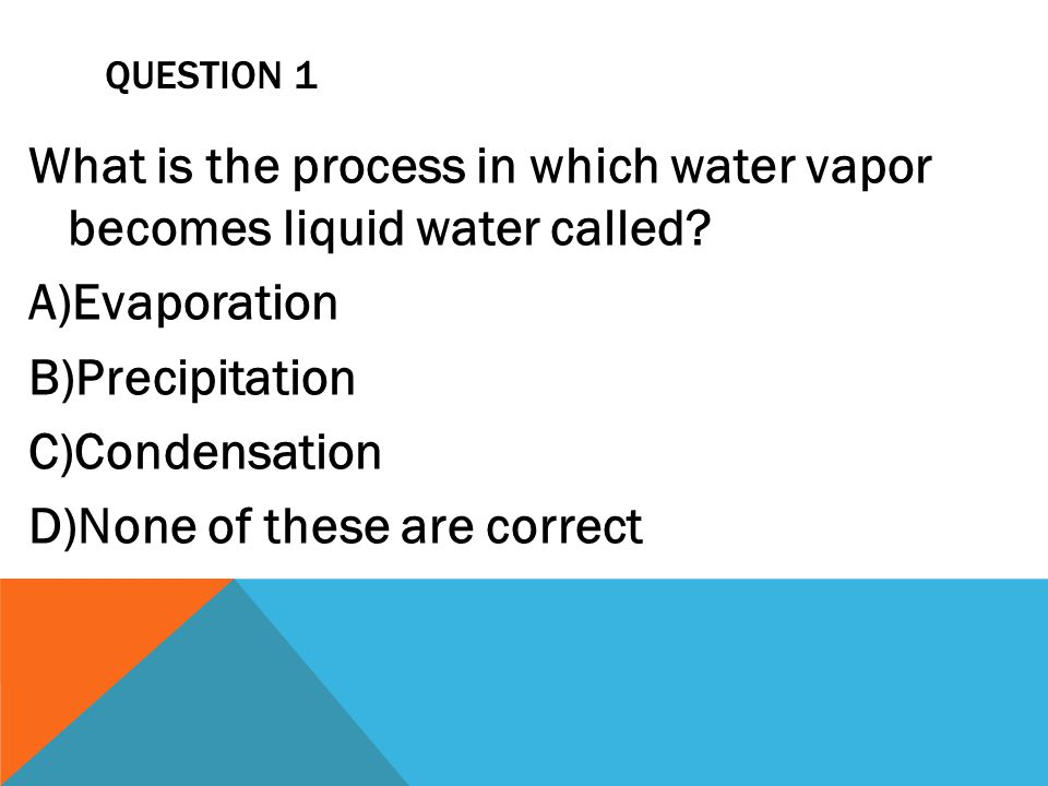 What is the process in which water vapor becomes liquid water called