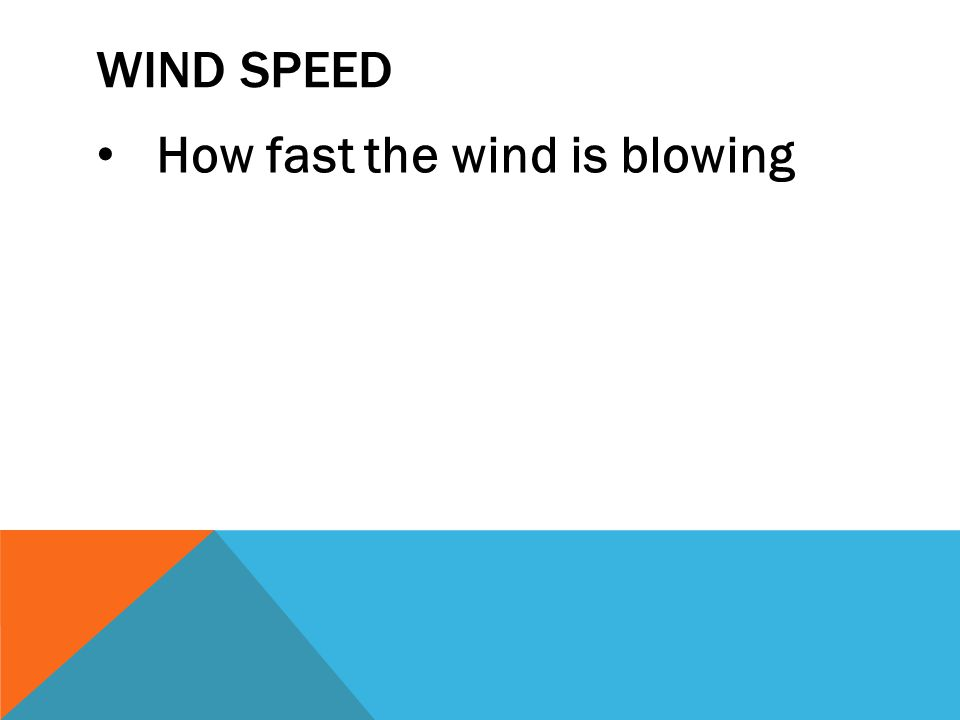 Wind speed How fast the wind is blowing