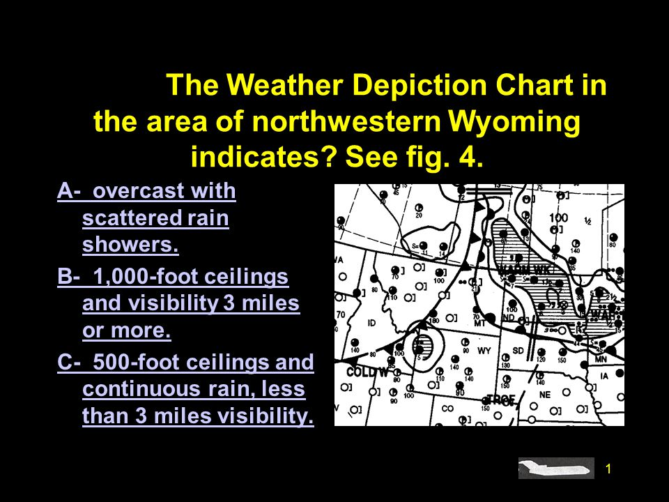 #4208. The Weather Depiction Chart in the area of northwestern Wyoming indicates See fig. 4.