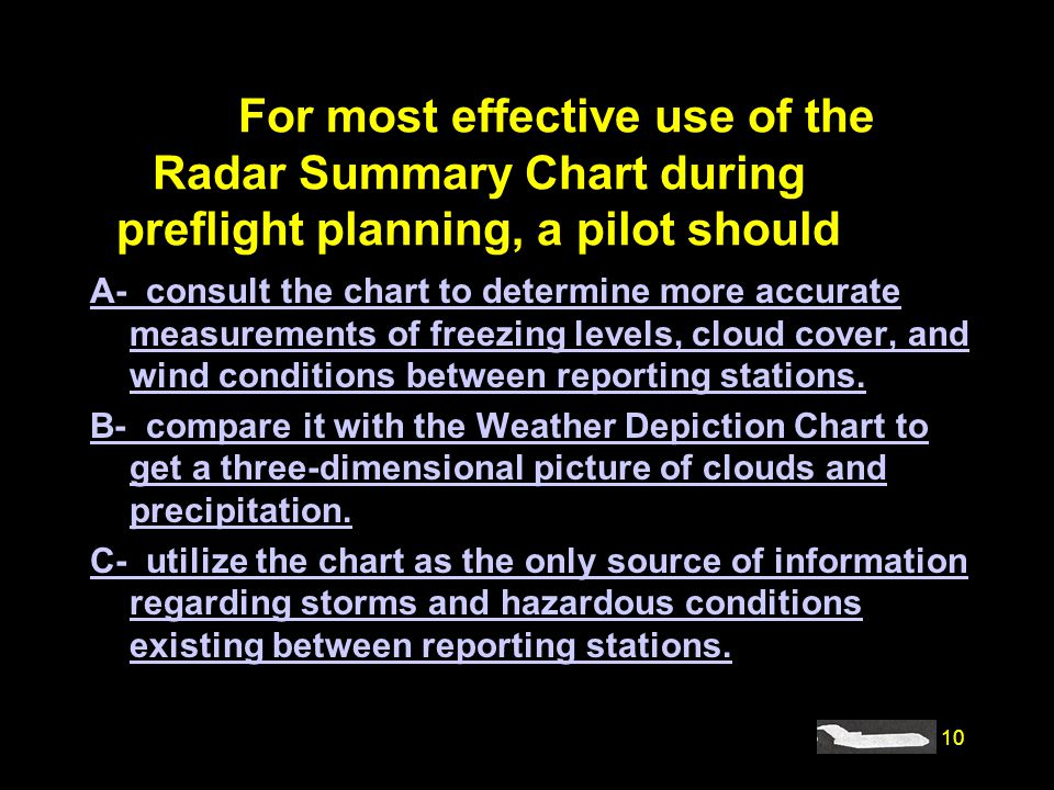 #4235. For most effective use of the Radar Summary Chart during preflight planning, a pilot should