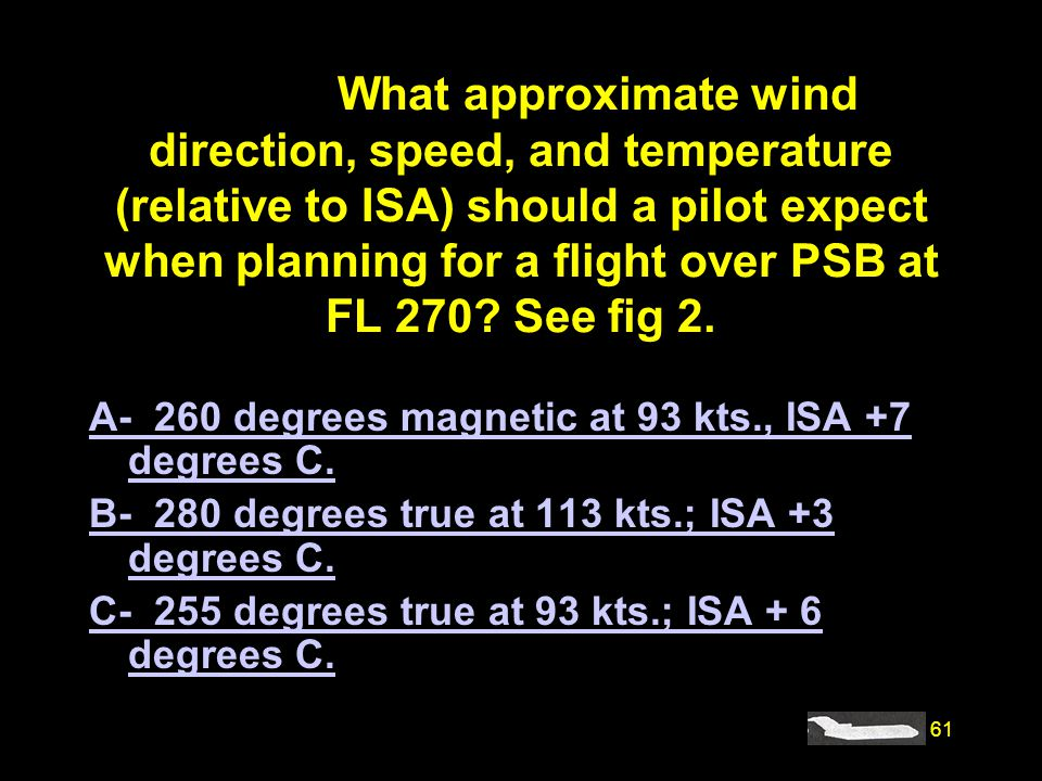 #4192. What approximate wind direction, speed, and temperature (relative to ISA) should a pilot expect when planning for a flight over PSB at FL 270 See fig 2.