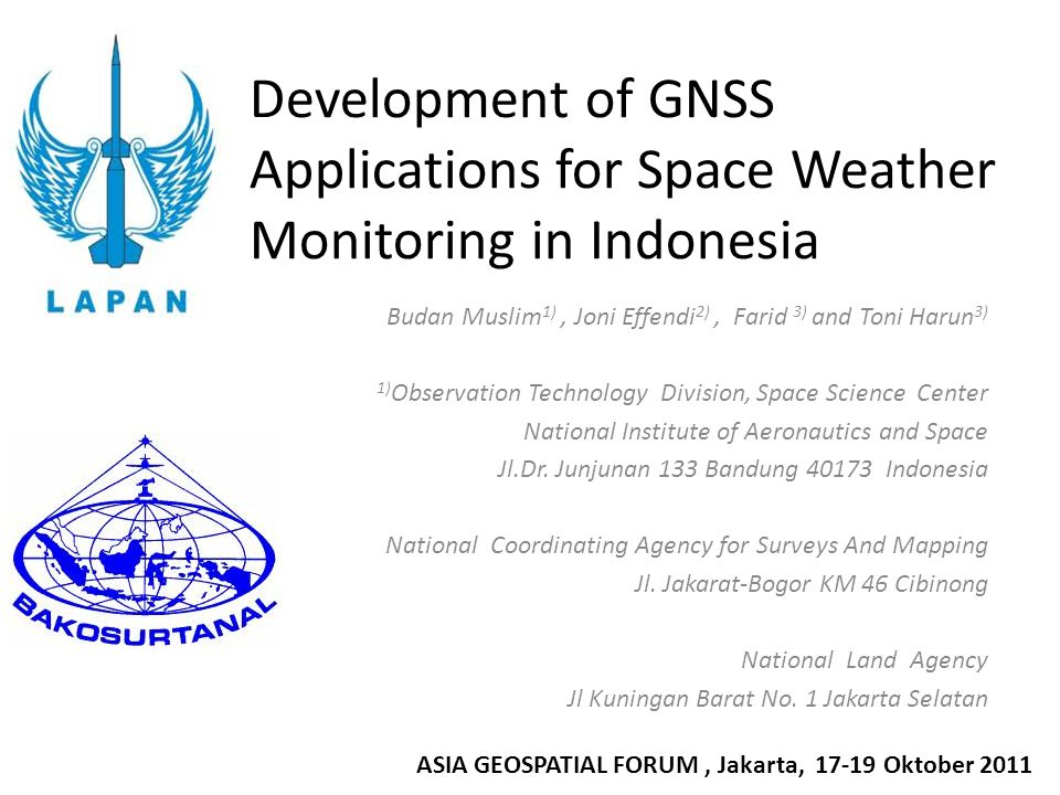 Development of GNSS Applications for Space Weather Monitoring in Indonesia