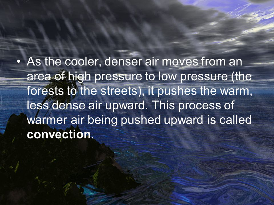 As the cooler, denser air moves from an area of high pressure to low pressure (the forests to the streets), it pushes the warm, less dense air upward.