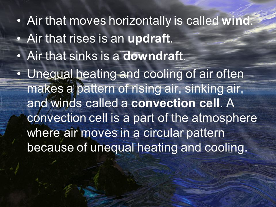Air that moves horizontally is called wind.