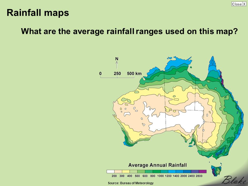 Rainfall maps What are the average rainfall ranges used on this map