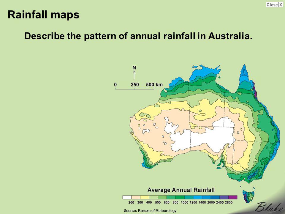 Rainfall maps Describe the pattern of annual rainfall in Australia.