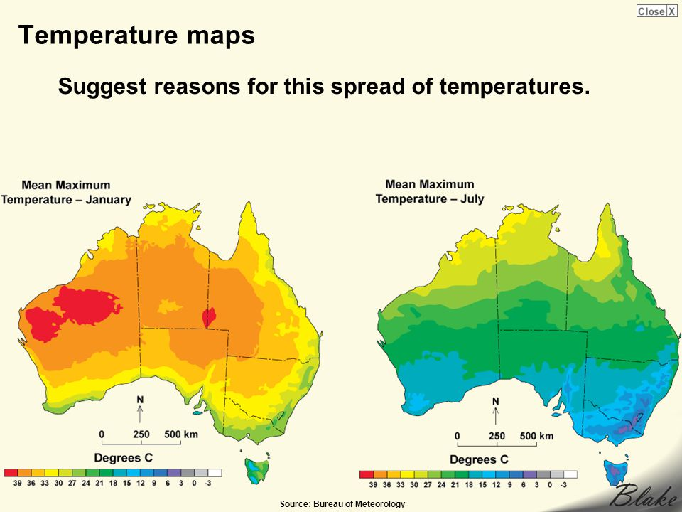 Temperature maps Suggest reasons for this spread of temperatures.