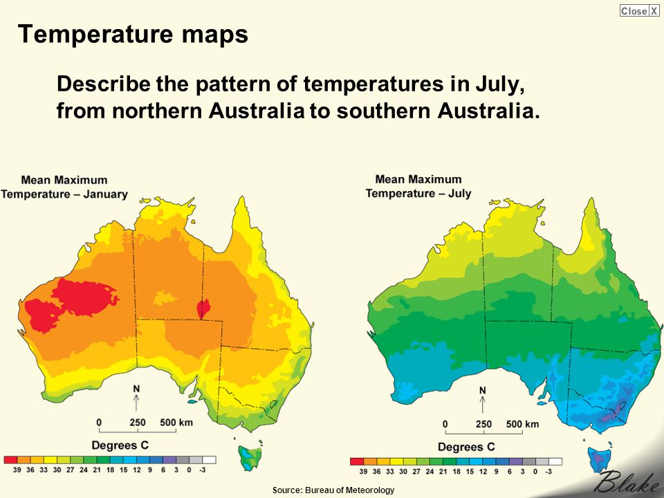 Temperature maps Describe the pattern of temperatures in July, from northern Australia to southern Australia.