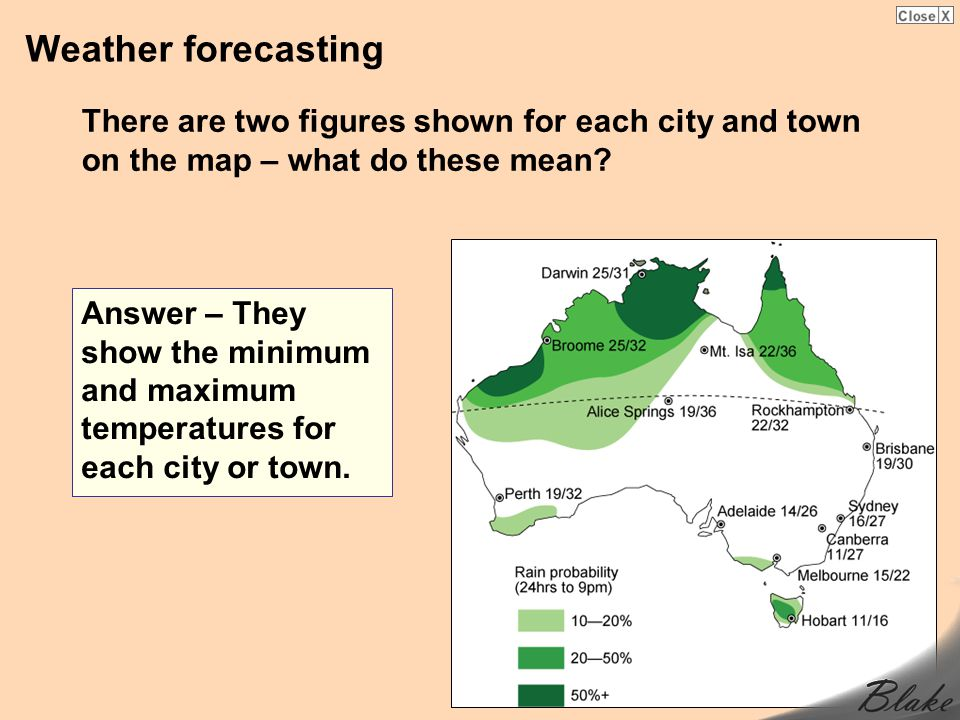 Weather forecasting There are two figures shown for each city and town on the map – what do these mean