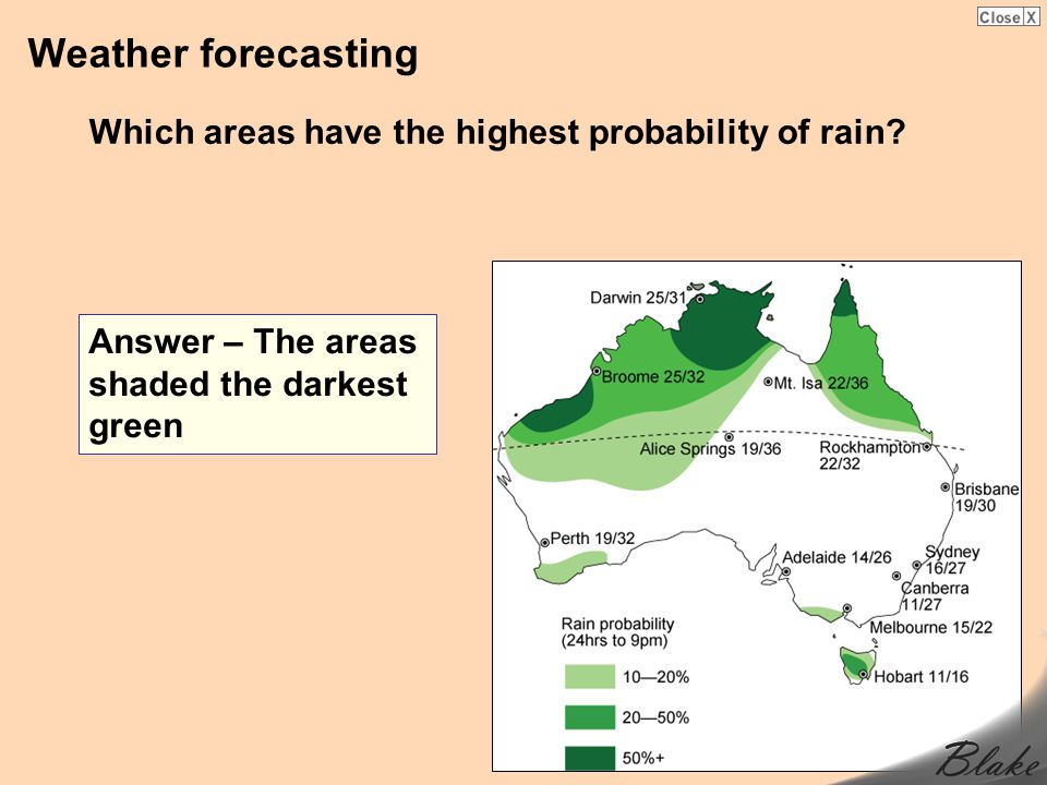 Weather forecasting Which areas have the highest probability of rain