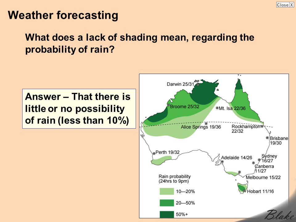 Weather forecasting What does a lack of shading mean, regarding the probability of rain