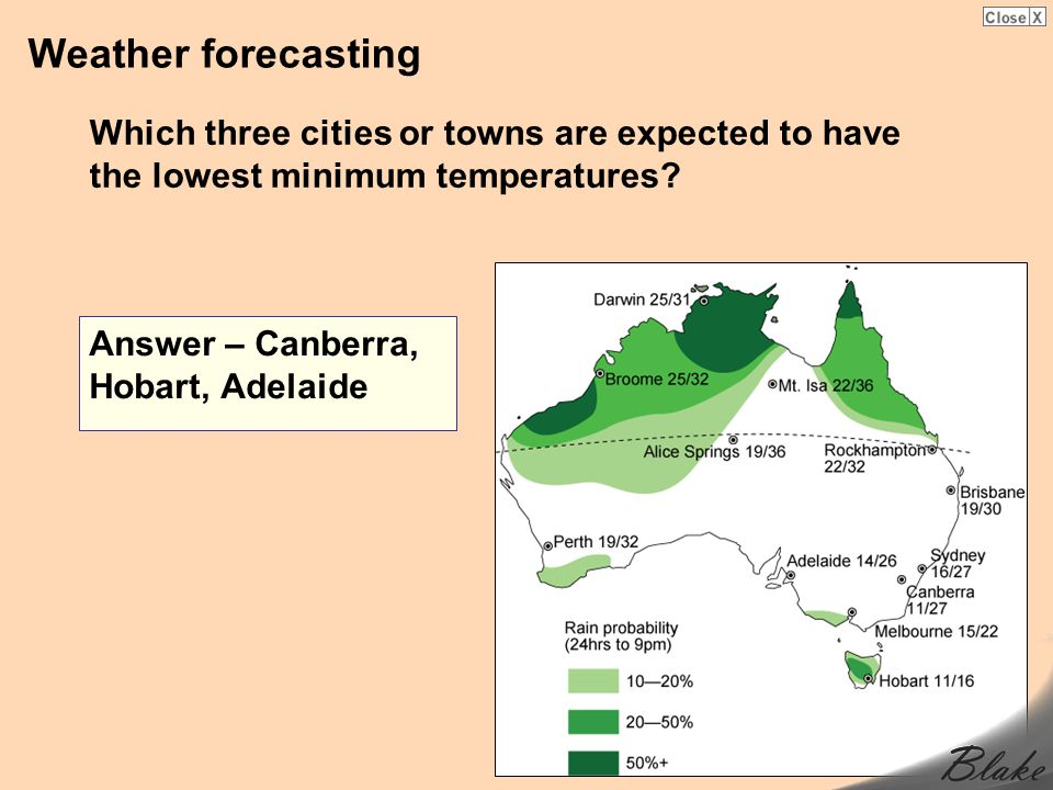 Weather forecasting Which three cities or towns are expected to have the lowest minimum temperatures