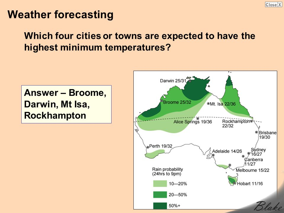 Weather forecasting Which four cities or towns are expected to have the highest minimum temperatures