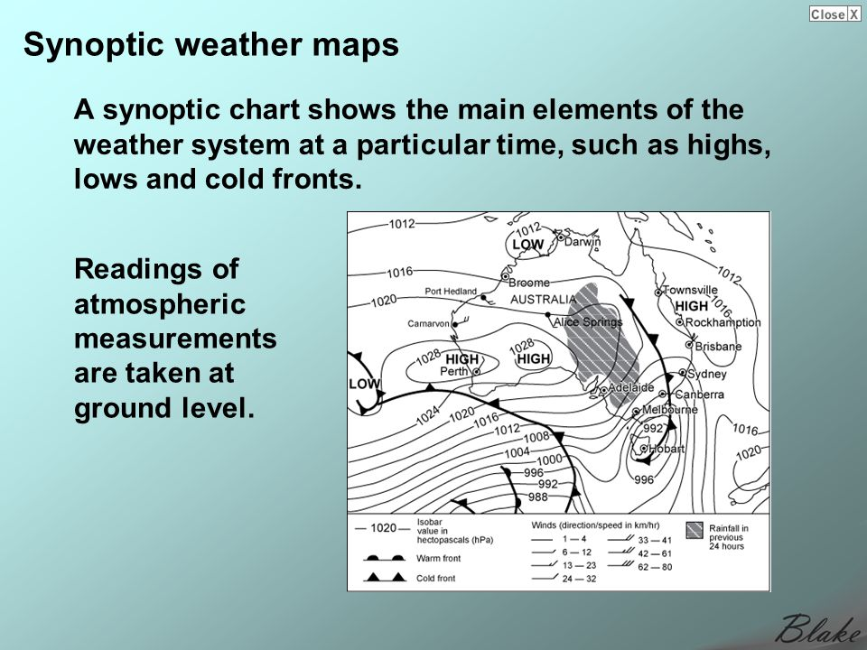 Synoptic weather maps A synoptic chart shows the main elements of the weather system at a particular time, such as highs, lows and cold fronts.