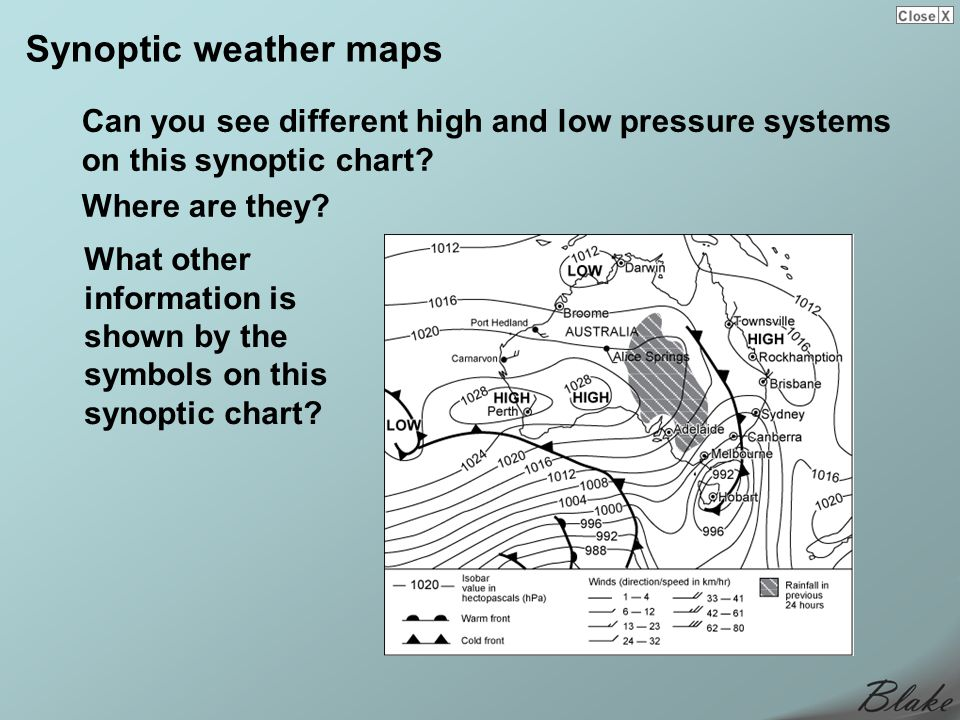Synoptic weather maps Can you see different high and low pressure systems on this synoptic chart Where are they