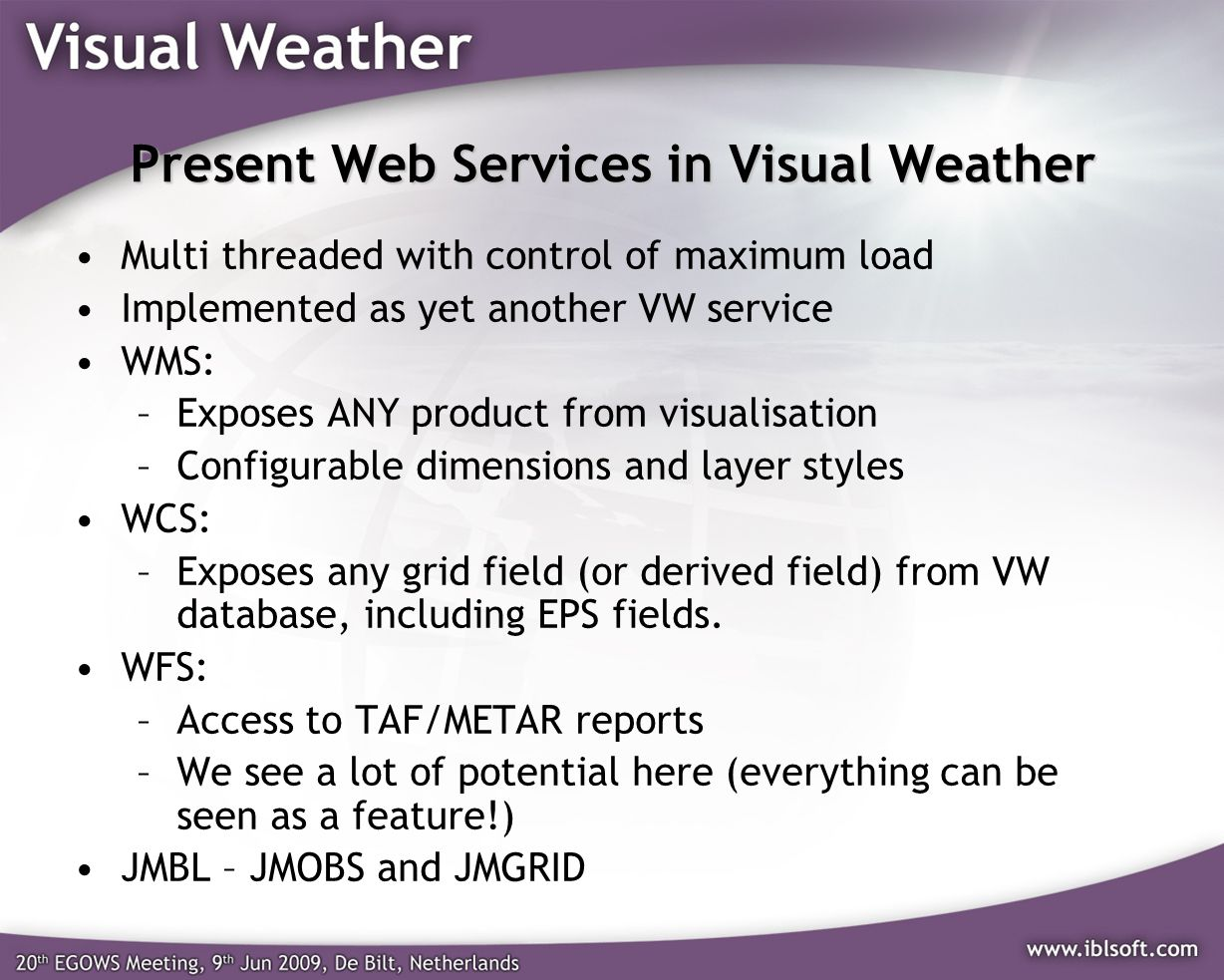 Present Web Services in Visual Weather