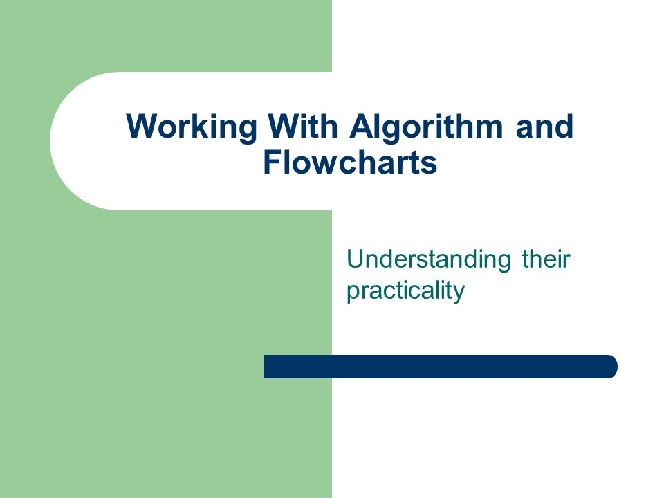 Working With Algorithm and Flowcharts