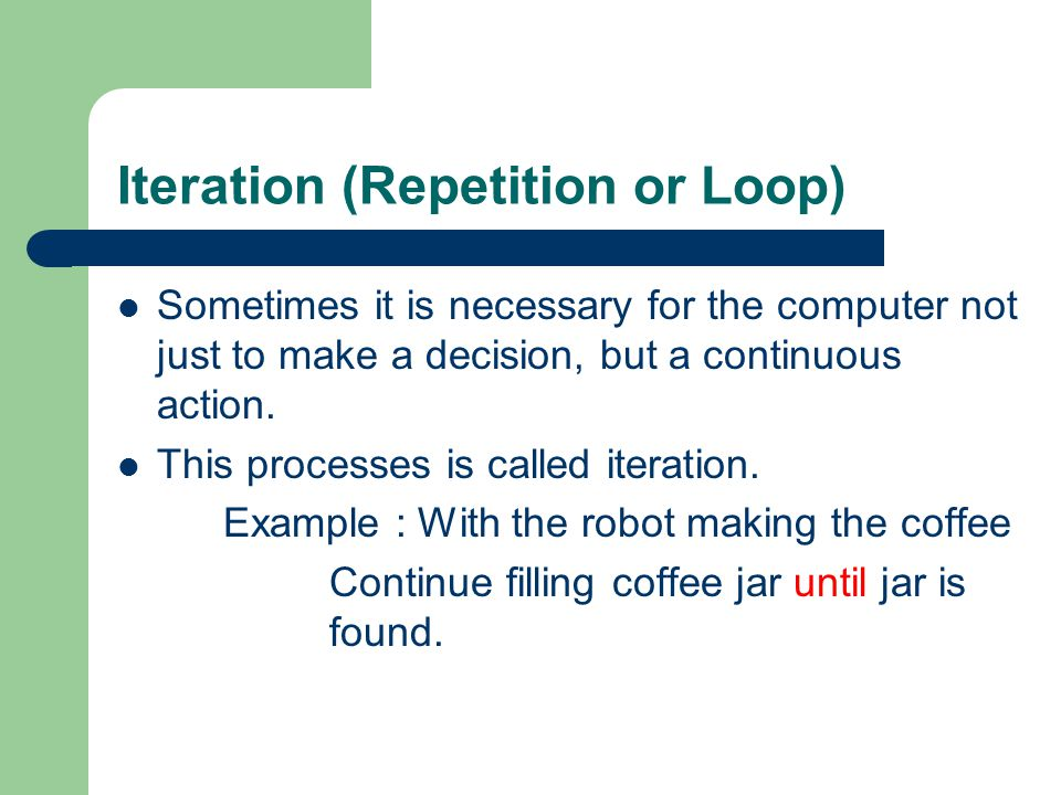 Iteration (Repetition or Loop)