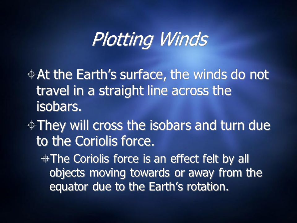 Plotting Winds At the Earth's surface, the winds do not travel in a straight line across the isobars.
