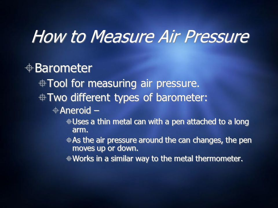 How to Measure Air Pressure