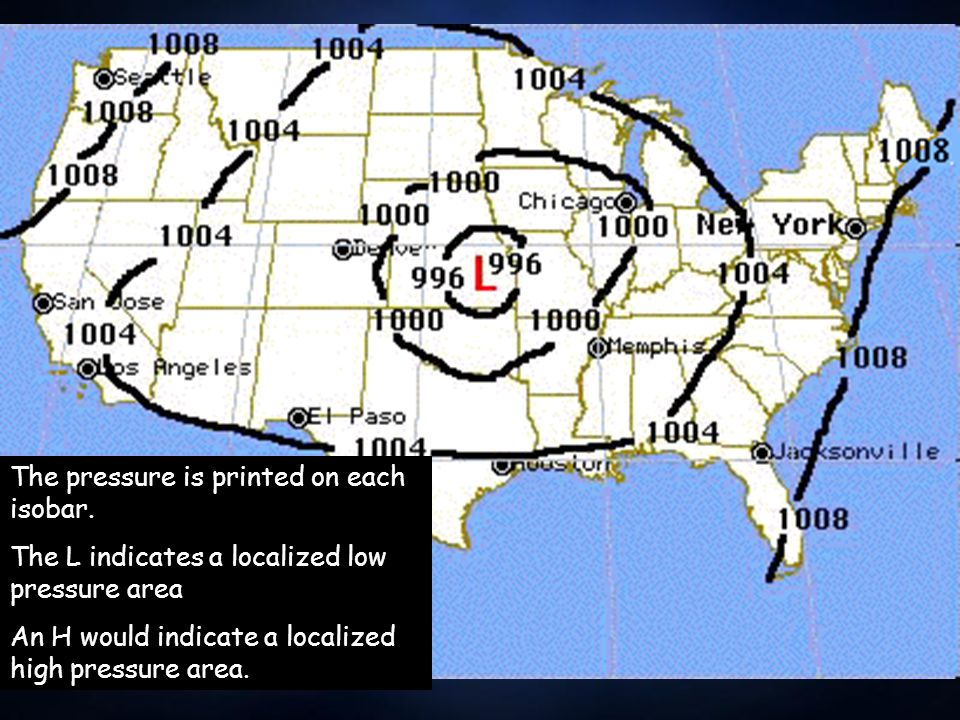 Isobars Isobars are a way of showing air pressure on a weather map.