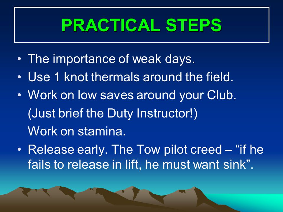 PRACTICAL STEPS The importance of weak days.