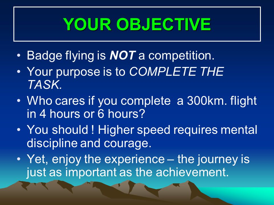 YOUR OBJECTIVE Badge flying is NOT a competition.