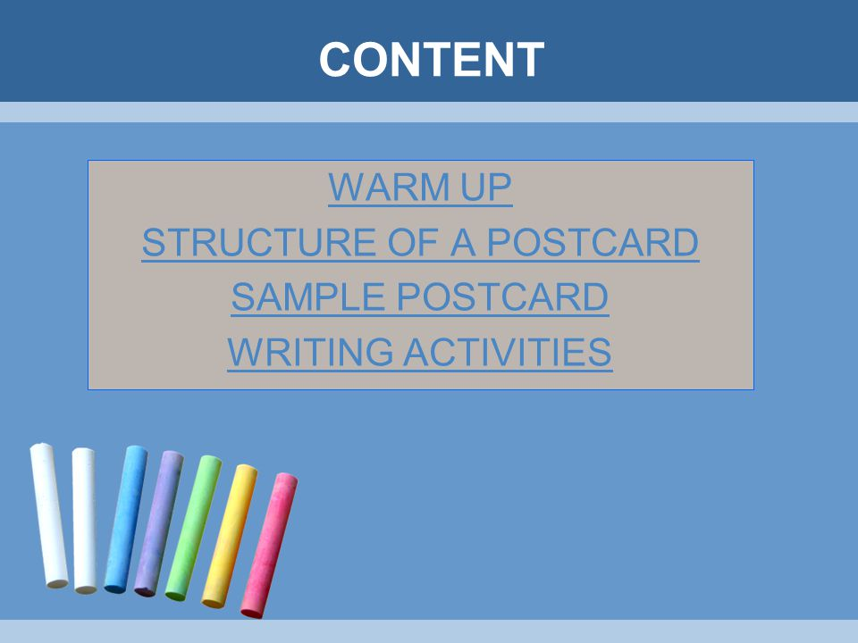STRUCTURE OF A POSTCARD