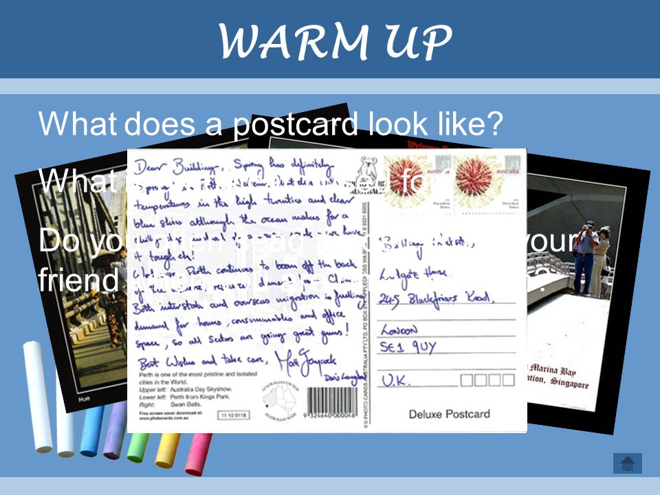 WARM UP What does a postcard look like What is a postcard used for