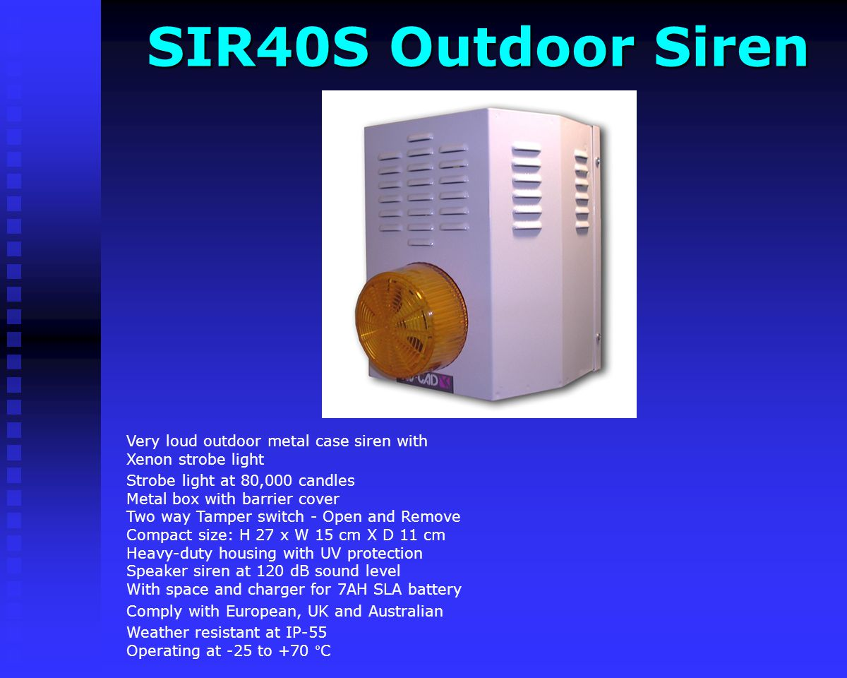 SIR40S Outdoor Siren Very loud outdoor metal case siren with Xenon strobe light.