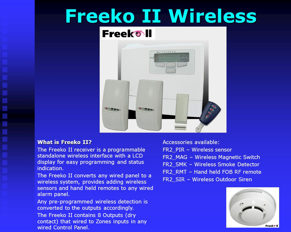 Freeko II Wireless Accessories available: FR2_PIR – Wireless sensor