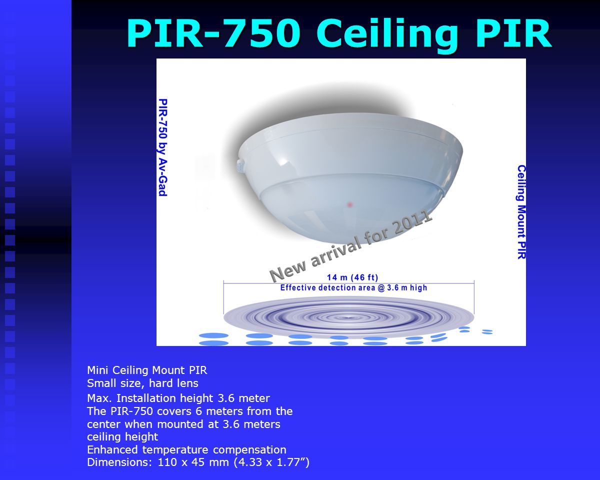 PIR-750 Ceiling PIR Mini Ceiling Mount PIR Small size, hard lens