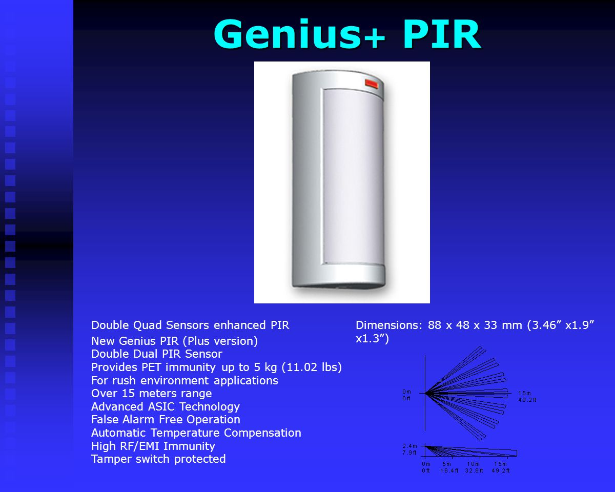 Genius+ PIR Dimensions: 88 x 48 x 33 mm (3.46 x1.9 x1.3 )