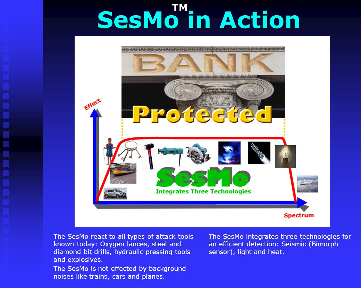 SesMo in Action TM. The SesMo integrates three technologies for an efficient detection: Seismic (Bimorph sensor), light and heat.