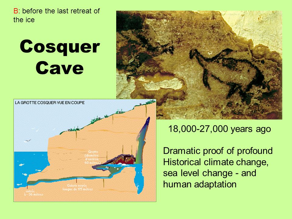 Cosquer Cave 18,000-27,000 years ago Dramatic proof of profound
