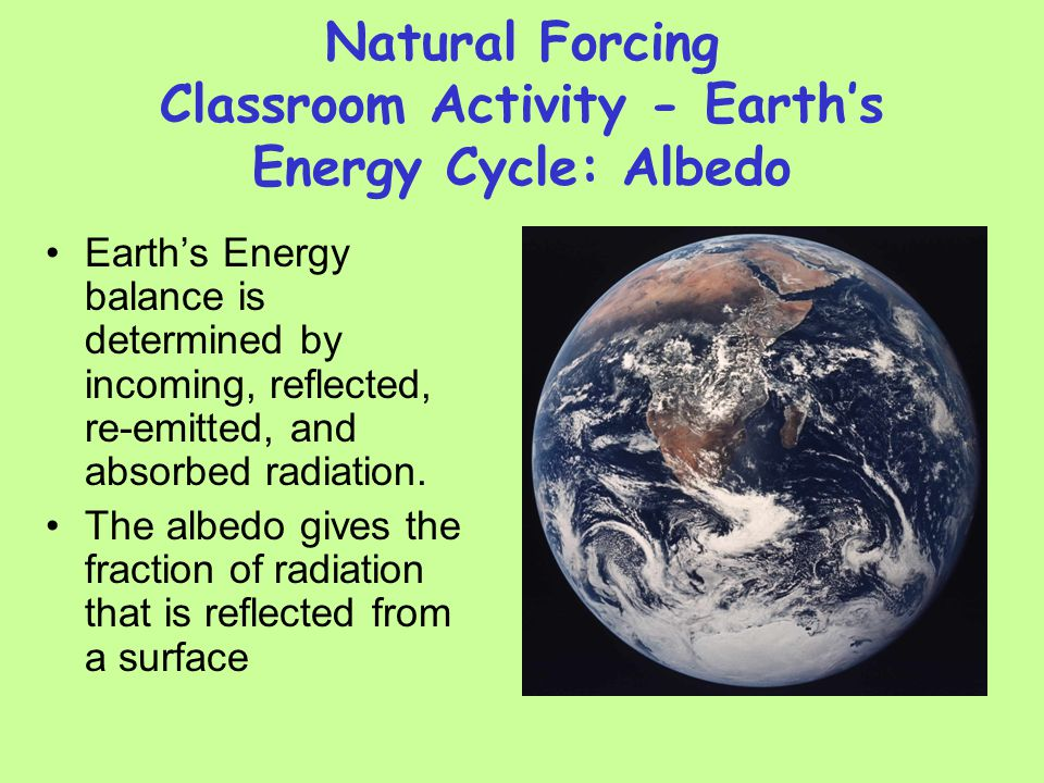 Natural Forcing Classroom Activity - Earth's Energy Cycle: Albedo