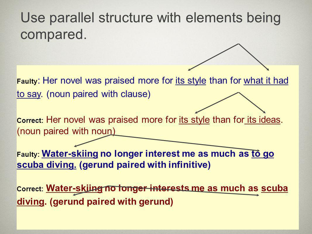 Use parallel structure with elements being compared.