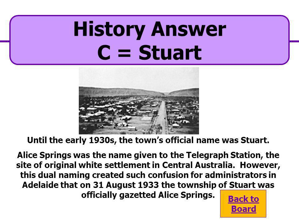 Until the early 1930s, the town's official name was Stuart.
