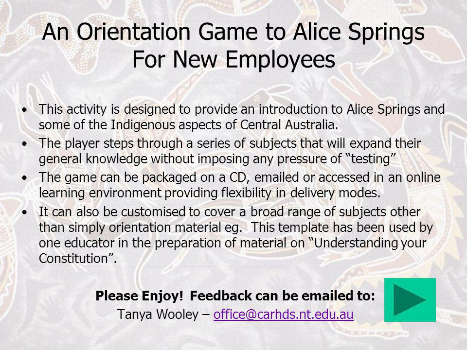 An Orientation Game to Alice Springs For New Employees
