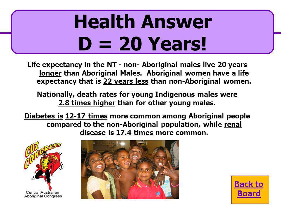Health Answer D = 20 Years! Back to Board
