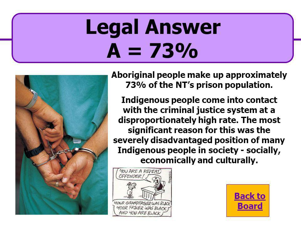 Legal Answer A = 73% Aboriginal people make up approximately 73% of the NT's prison population.