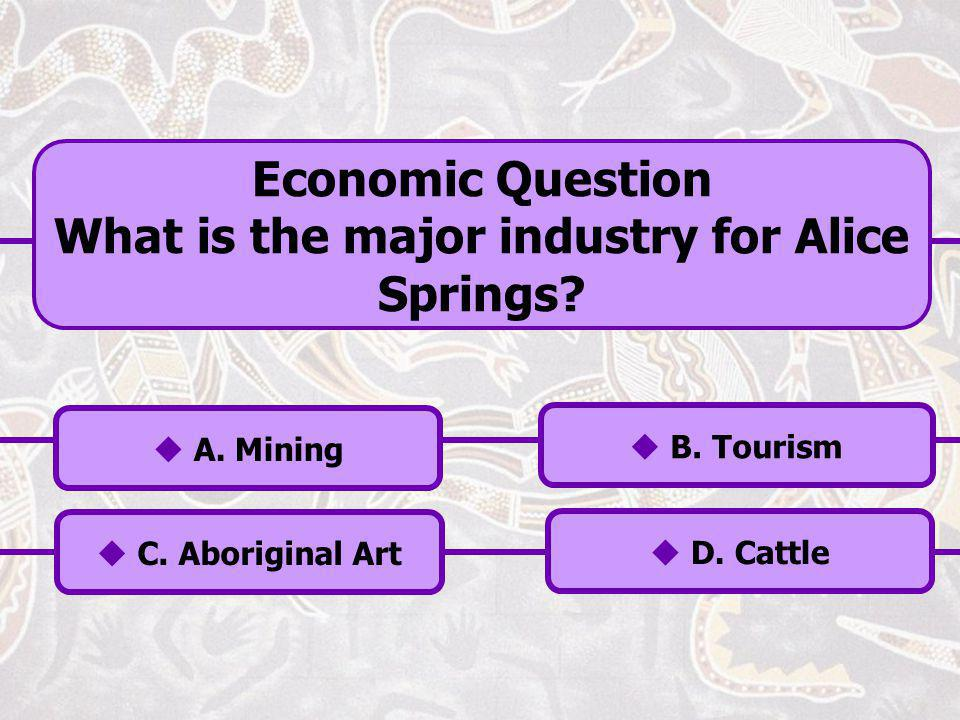 What is the major industry for Alice Springs