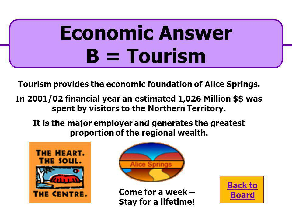Tourism provides the economic foundation of Alice Springs.