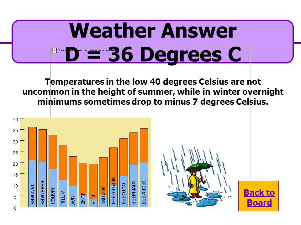 Weather Answer D = 36 Degrees C