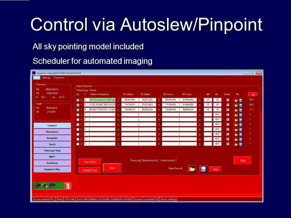 Control via Autoslew/Pinpoint